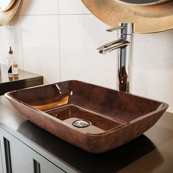 Glass Rectangular Vessel Bathroom Sink by VIGO