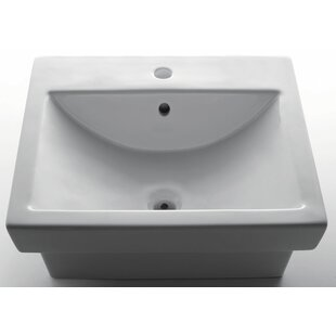 Ceramic Rectangular Vessel Bathroom Sink with Overflow EAGO