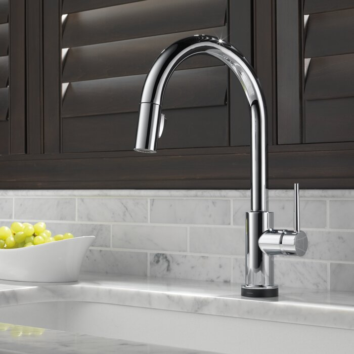 trinsic single arctic ar featuring pull down touch asp handle technology full dst kitchen stainless prod faucet delta