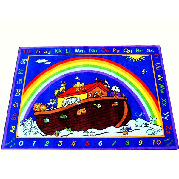 Cute Animals in the Ark Blue Area Rug by Kids World Carpets