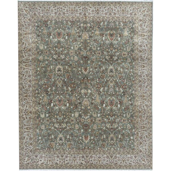 Hand-Knotted Wool Green/Camel Rug