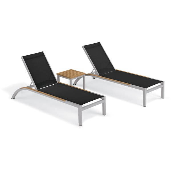 Saint-Pierre 3 Piece Reclining Chaise Lounge with Table by Brayden Studio