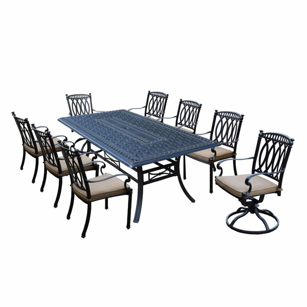 Otsego 9 Piece Aluminum Dining Set with Cushions by Darby Home Co