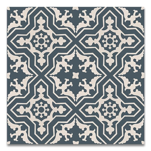 Temara 8 x 8 Handmade Cement Tile in Navy/White by Moroccan Mosaic