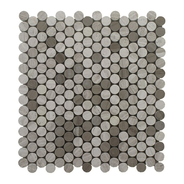 Oyster Mixed with Athens Penny Round Polished 12 x 12 Glass Mosaic Tile in Gray by Seven Seas