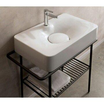 Fuji Ceramic Rectangular Vessel Bathroom Sink by Scarabeo by Nameeks