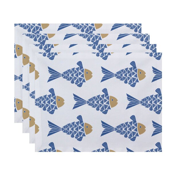 Grand Ridge Fish Tales Coastal Placemat (Set of 4) by Bay Isle Home