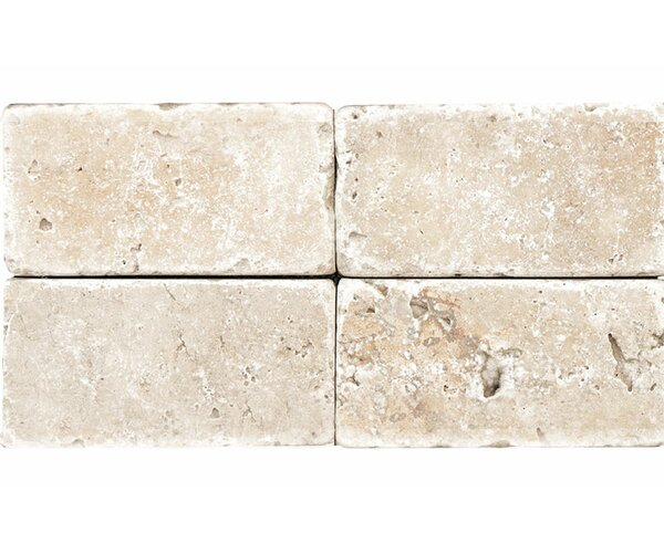 Rustic Tumbled 4 x 8 Travertine Field Tile in Ivory by Parvatile