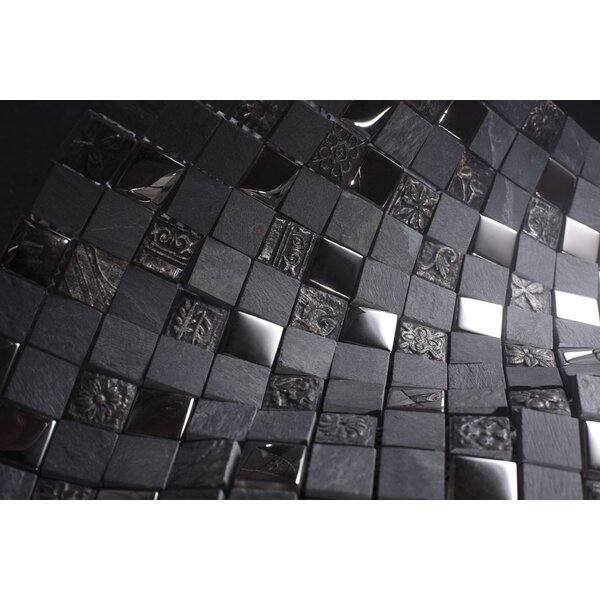 Glass Mosaic Tile in Gray/Black by Multile