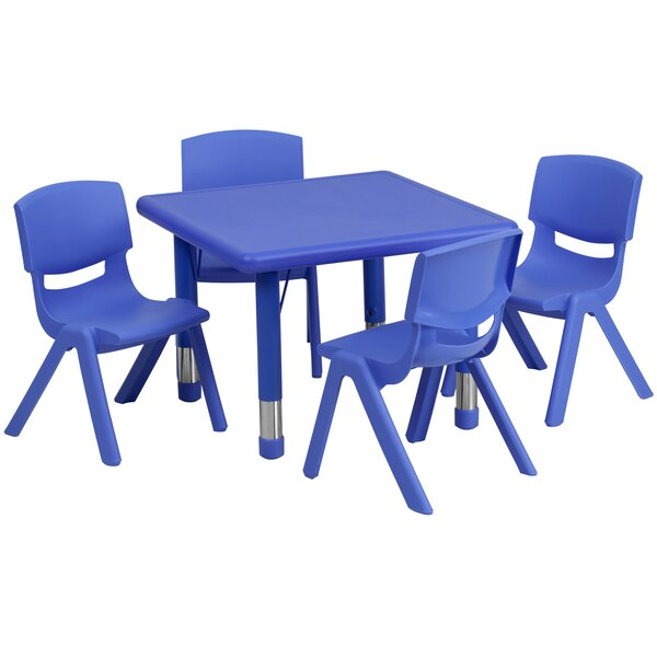 5 Piece Square Activity Table & 10.5 Chair Set by