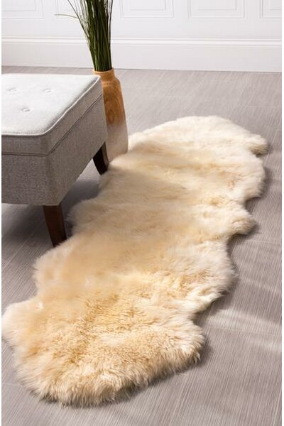 Moquin Genuine Fur Double Pelt Handmade Shag Sheepskin Black Area Rug by Bloomsbury Market