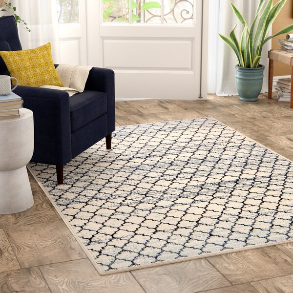 Macclenny Lattice Abrash Black/Ivory Area Rug by Bungalow Rose