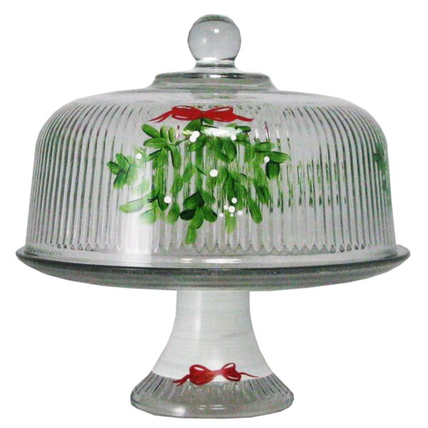 Drouin Mistletoe Dome Cake Stand by The Holiday Aisle