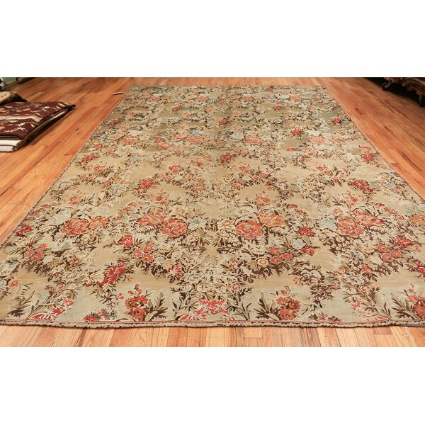 One-of-a-Kind Romanian Hand-Knotted Before 1900 Green 9' x 12' Wool Area Rug