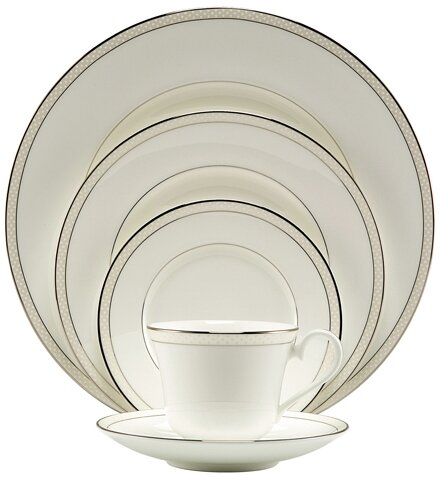 Platinum Beaded Pearl Bone China 5 Piece Place Setting, Service for 1 by Nikko Ceramics