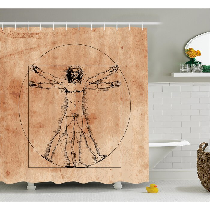 Human Anatomy Medieval Vitruvian Man Crosshatching Famous Italian Painting Renaissance Body Art Shower Curtain