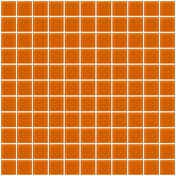 1 x 1 Glass Mosaic Tile in Glossy Orange by Susan Jablon
