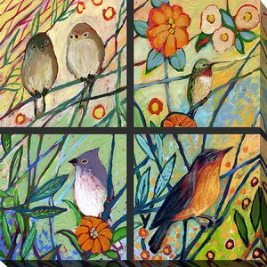 Bird Quadrant III by Jennifer Lommers Painting Print on Wrapped Canvas by Picture Perfect International