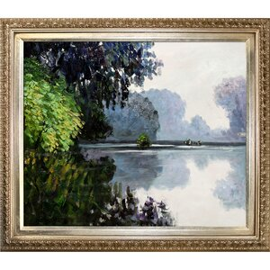 'Morning on the Seine Near Giverny' by Claude Monet Framed Oil Painting Print on Canvas by Tori Home