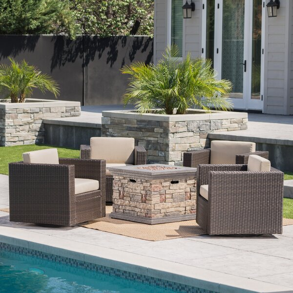 Furst 5 Piece Seating Group with Cushions by Wade Logan