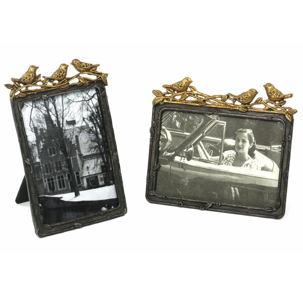 Sherri Vertical Pewter with Leaf Birds Picture Frame by Canora Grey