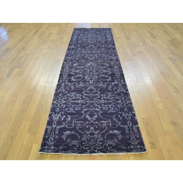One-of-a-Kind Bean Damask Hand-Knotted Purple Wool/Silk Area Rug by Isabelline