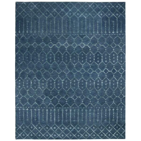 Cuddy Hand-Tufted Wool Navy Area Rug by Bungalow Rose
