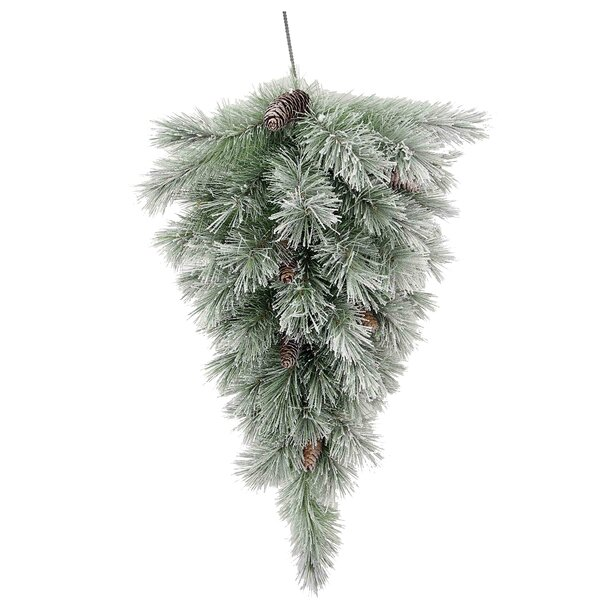Christmas Pine Teardrop Swag with Frosted Snow by