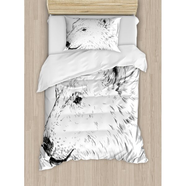 Animal Polar Bear Profile Engraved Ink Drawing Grizzly Furry Wildlife in North Winter Zoo Duvet Set by Ambesonne