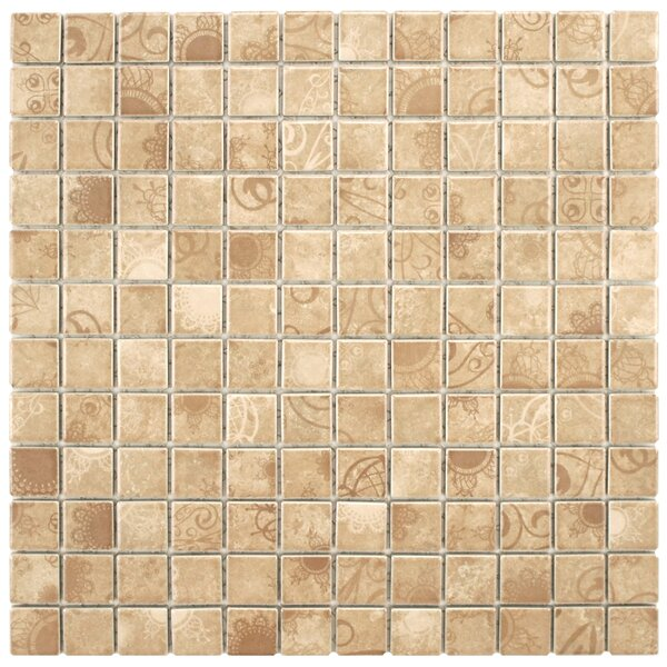 Filigree 0.9 x 0.9 Porcelain Mosaic Tile in Satin Beige by EliteTile