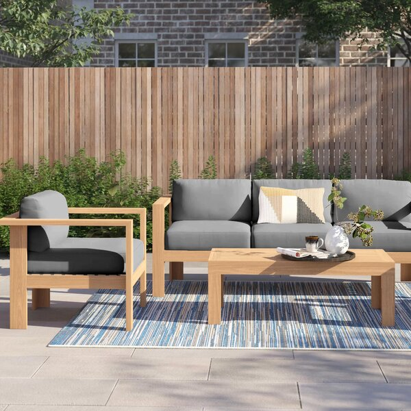 Gillian 4 Piece Teak Sofa Seating Group with Sunbrella Cushions by Foundstone