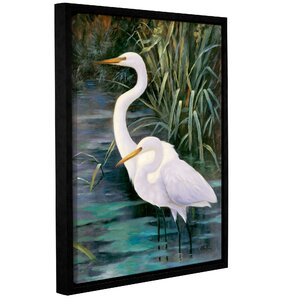 Snowy Egrets II Framed Photographic Print on Canvas by Bay Isle Home