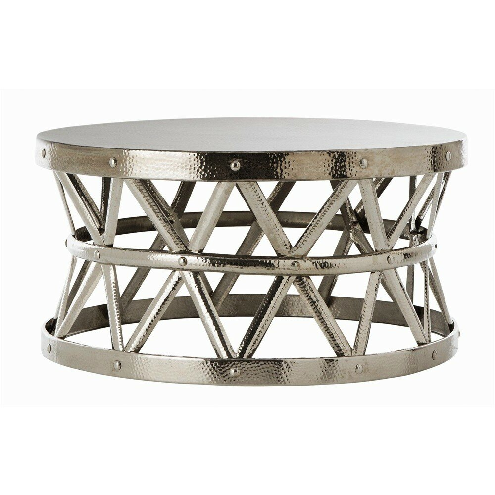 Fashion N You Hammered Coffee Table Reviews Wayfair - Hammered metal drum coffee table