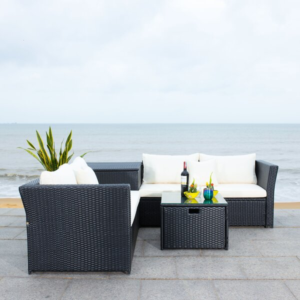 Helga 3 Piece Rattan Sectional Seating Group With Cushions By Latitude Run