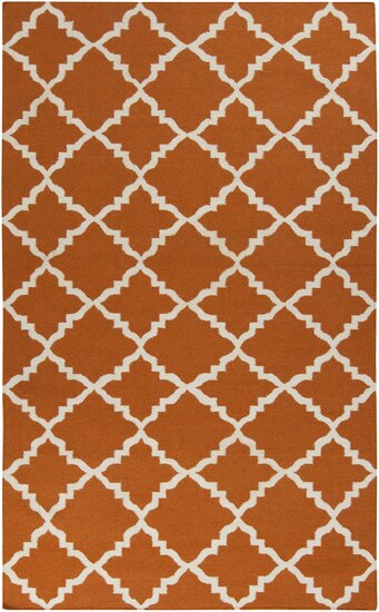 Hackbarth Hand-Woven Burnt Orange Area Rug by Zoomie Kids