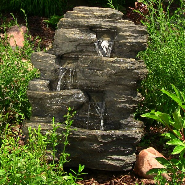 Vargas Polystone Rock Falls Outdoor Waterfall Fountain with LED Light by Loon Peak