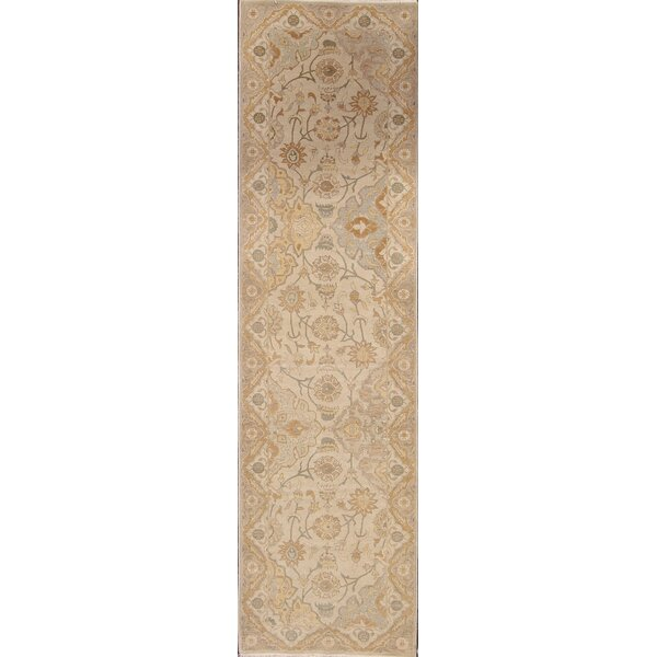 One-of-a-Kind Shetler Oushak Peshawar Oriental Hand-Knotted Wool Beige/Ivory Area Rug by Bloomsbury Market