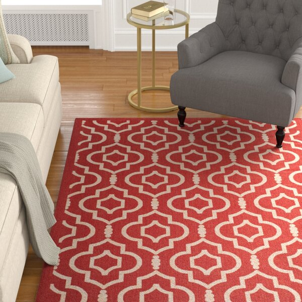 Octavius Red/Bone Outdoor Rug by Charlton Home