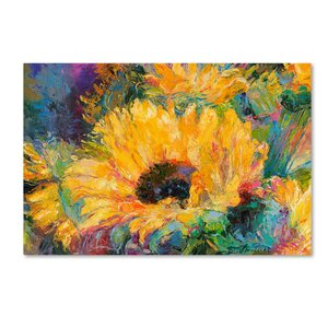 'Blue Sunflowers' Print on Wrapped Canvas by Trademark Fine Art