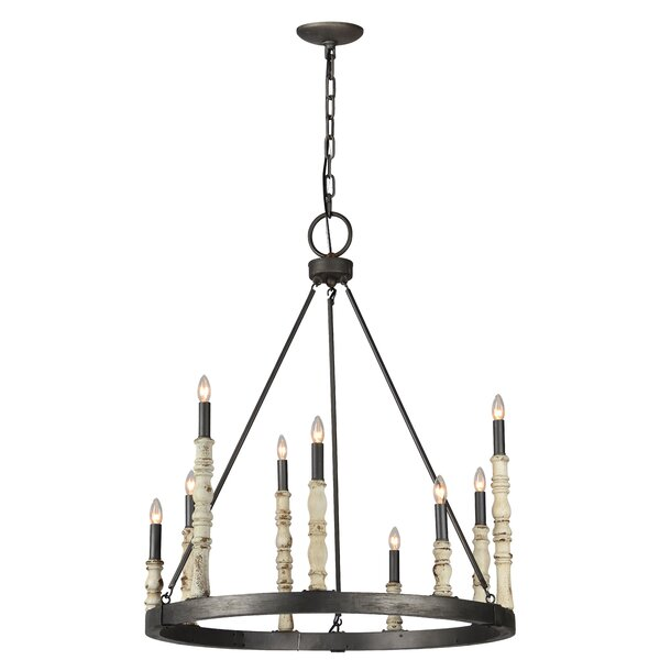 Ralon 9 - Light Unique / Statement Wagon Wheel Chandelier with Wood Accents by Gracie Oaks Gracie Oaks