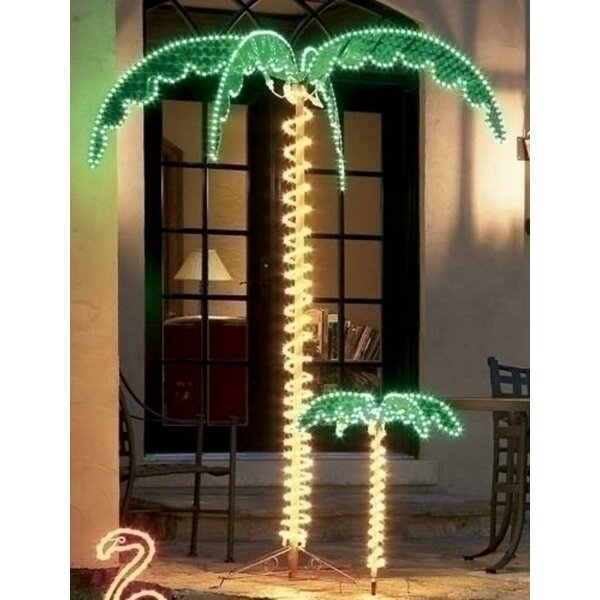 Tropical Lighted Holographic Rope Light Outdoor Palm Tree by Northlight Seasonal