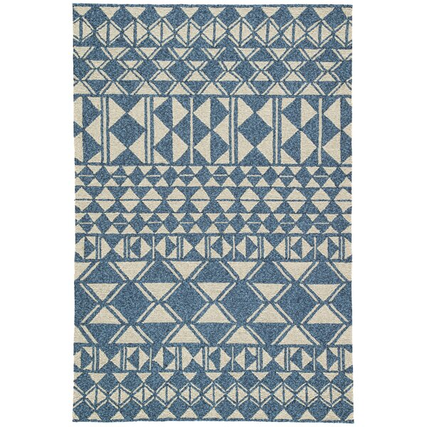 Salinas Hand Hooked Ivory/Blue Indoor/Outdoor Area Rug by Wrought Studio