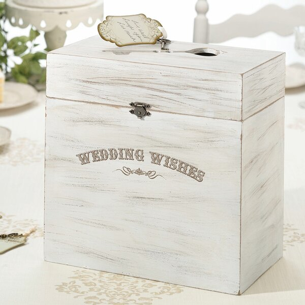 Wedding Wishes Wooden Key Card Box by Lillian Rose