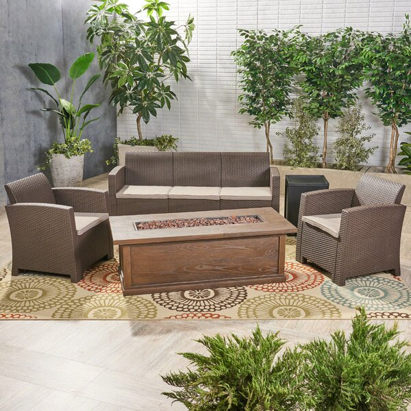 Baez Outdoor 5 Piece Wicker Print Sofa Seating Group with Cushions by Alcott Hill