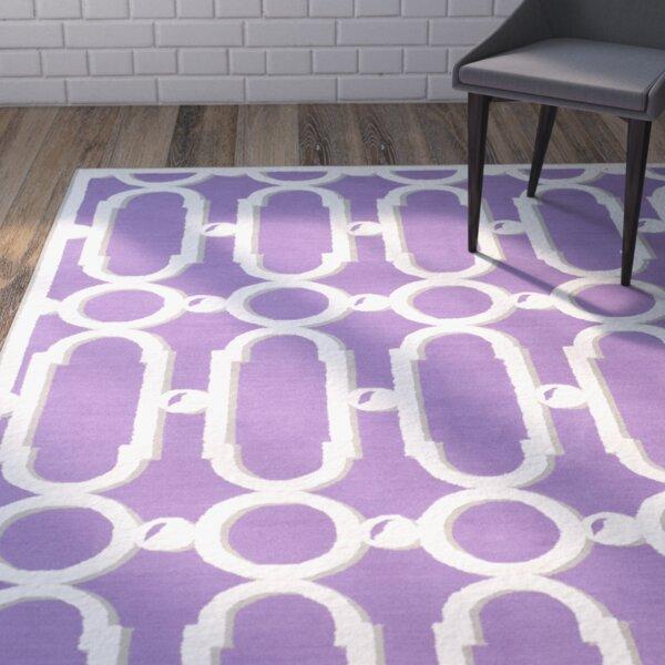 Sheeran Purple/White Geometric Area Rug by Wrought Studio