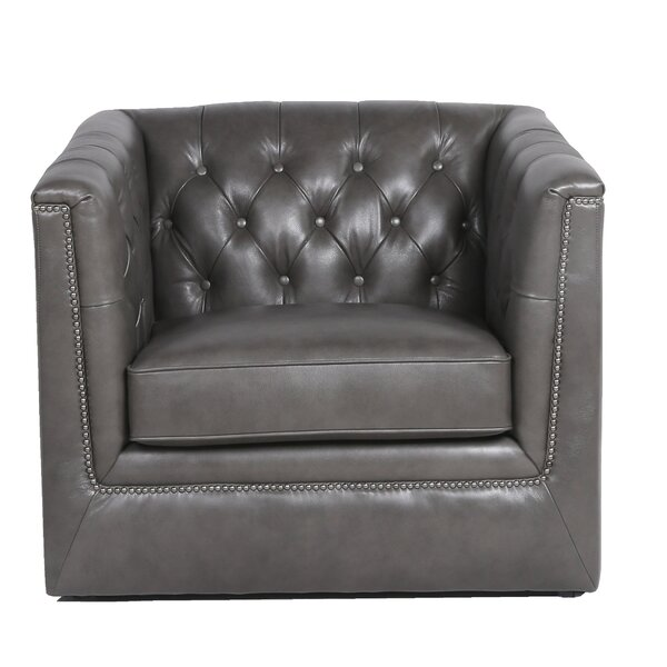 Raulston Tufted Leather Armchair By Canora Grey