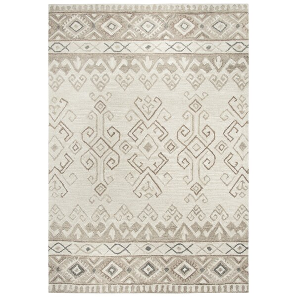 Pittard Hand-Tufted Wool Ivory Area Rug by Gracie Oaks