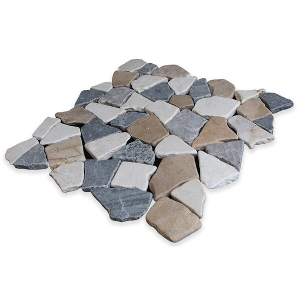 Fit Random Sized Natural Stone Pebble Tile in Tan Grey Blend by Pebble Tile