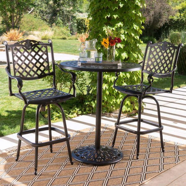 Leininger 3 Piece Bar Height Dining Set by Three Posts