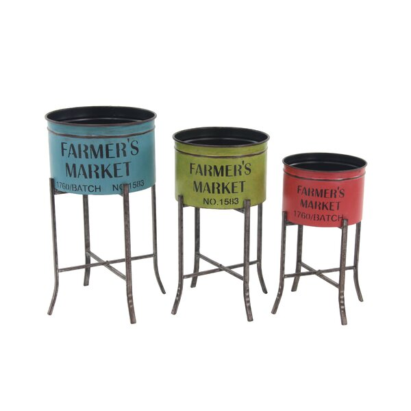 Farmhouse Round 3-Piece Pot Planter Set with Stands by Cole & Grey